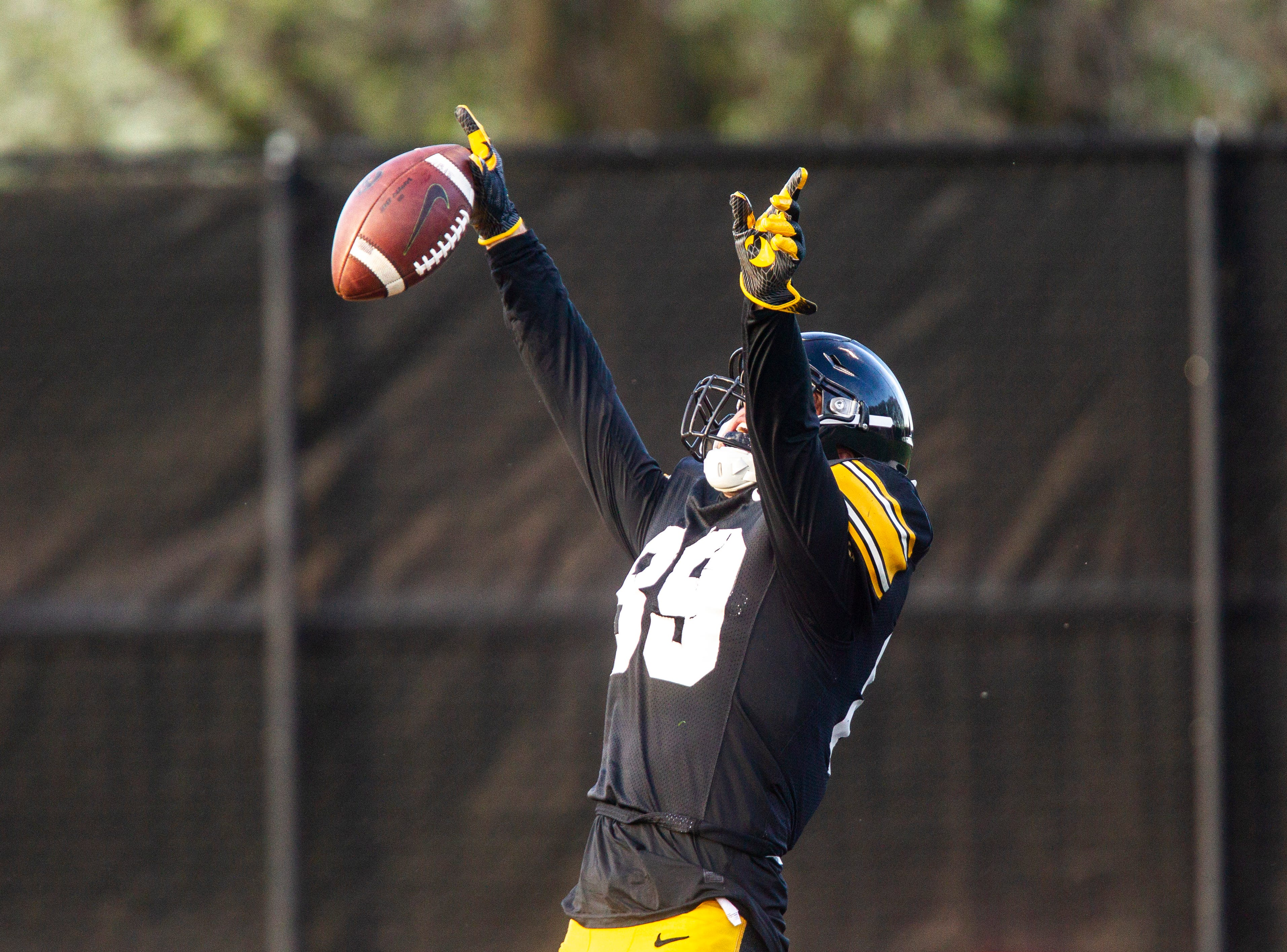 Iowa wide receiver Nico Ragaini (89) celebrates in the endzone after catching a touchdown pass during the final spring football practice, Friday, April 26, 2019, at the University of Iowa outdoor practice facility in Iowa City, Iowa.