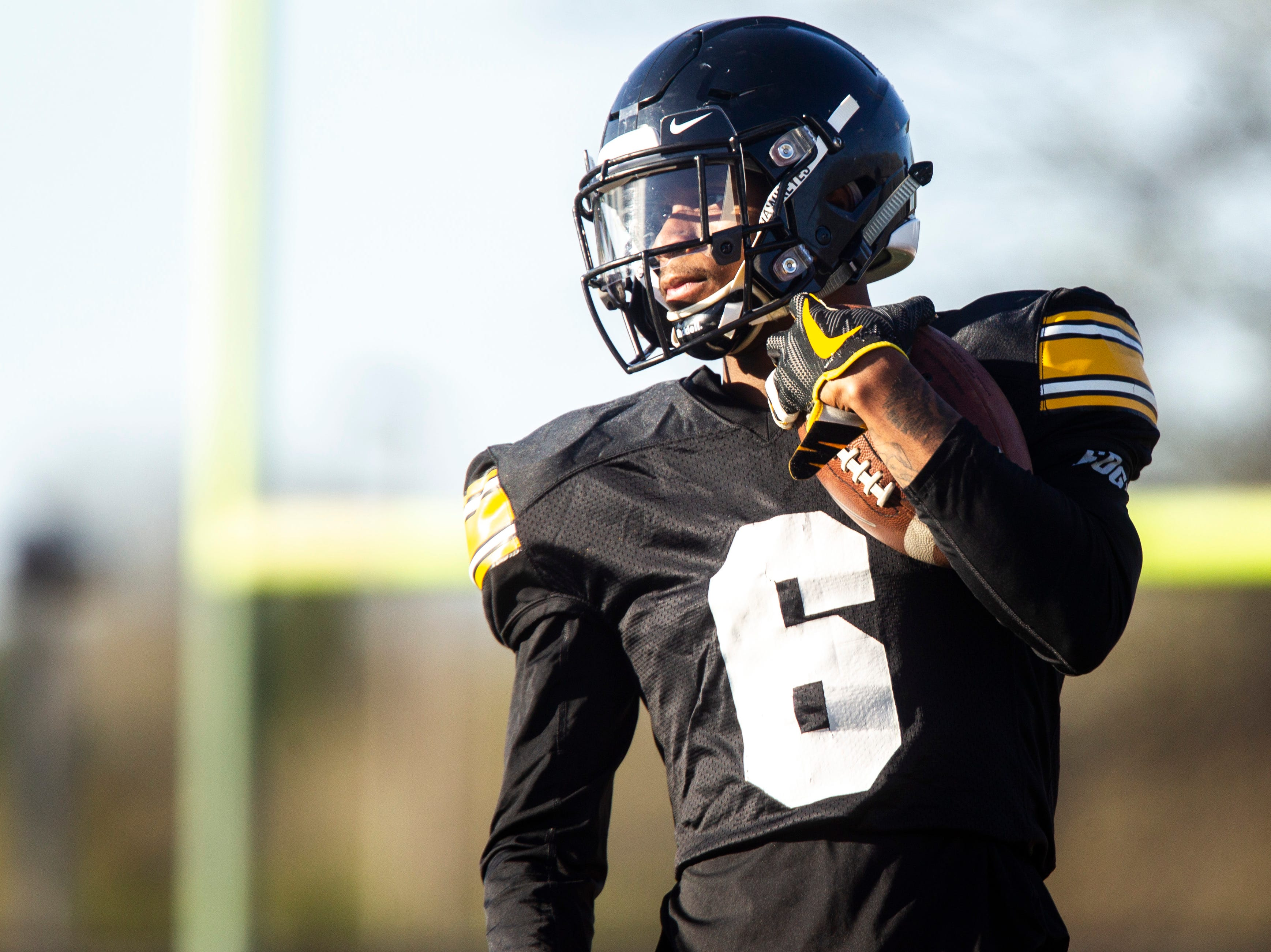 Iowa wide receiver Ihmir Smith-Marsette (6) looks up the field during the final spring football practice, Friday, April 26, 2019, at the University of Iowa outdoor practice facility in Iowa City, Iowa.
