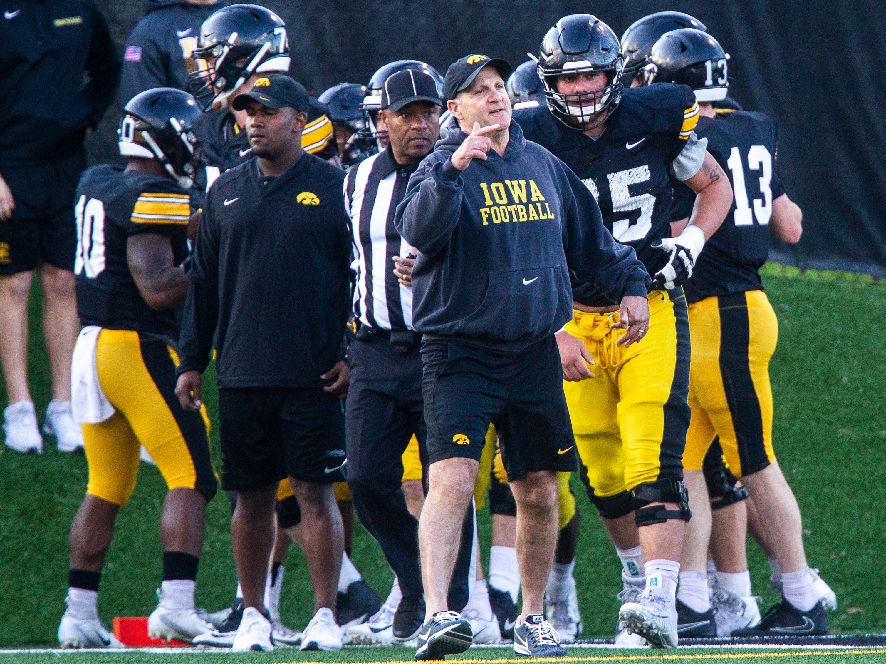 Iowa defensive coordinator Phil Parker calls out to players during the final spring football practice, Friday, April 26, 2019, at the University of Iowa outdoor practice facility in Iowa City, Iowa.