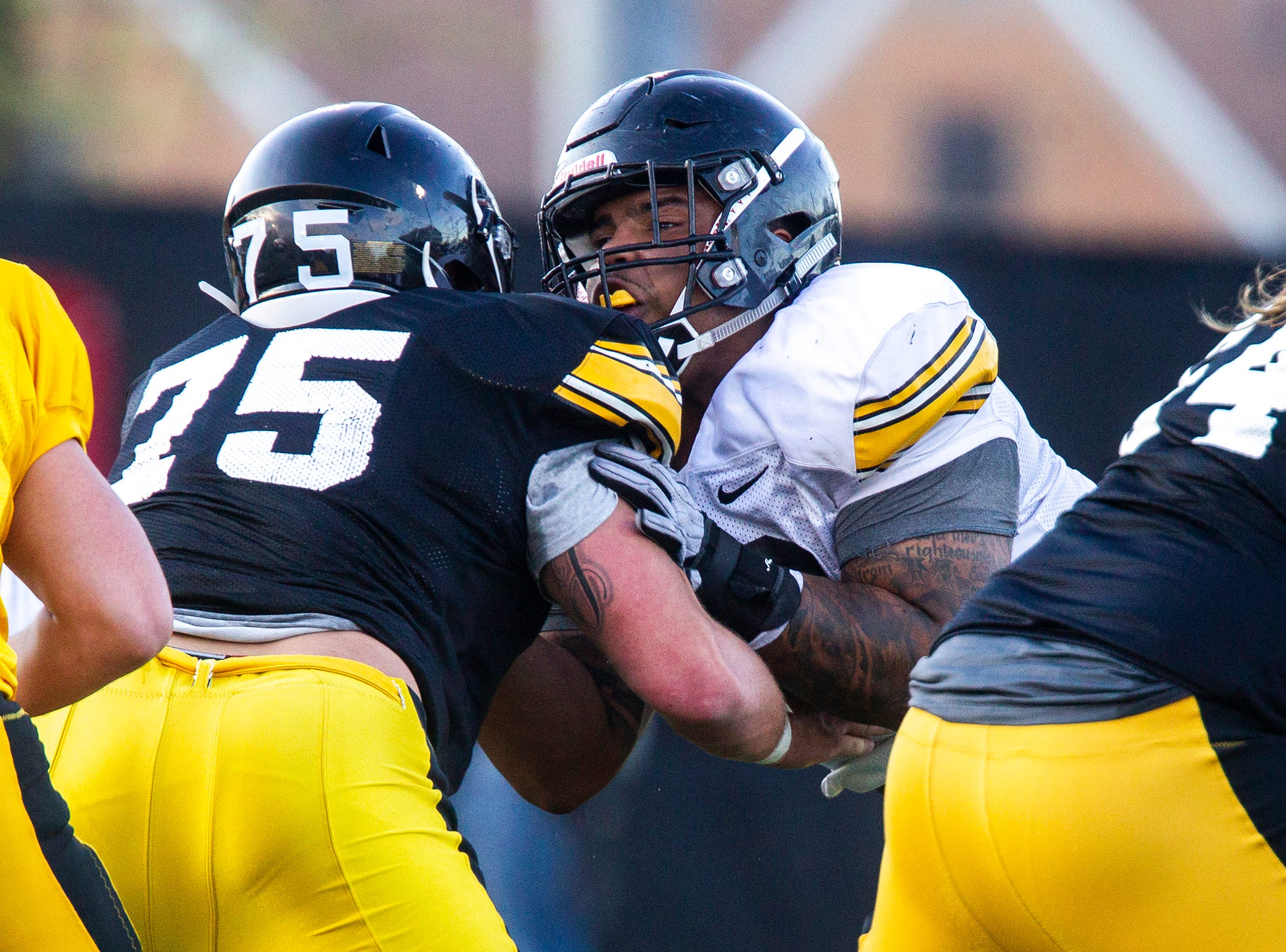 Iowa defensive lineman Noah Shannon (99) blocks during the final spring football practice, Friday, April 26, 2019, at the University of Iowa outdoor practice facility in Iowa City, Iowa.