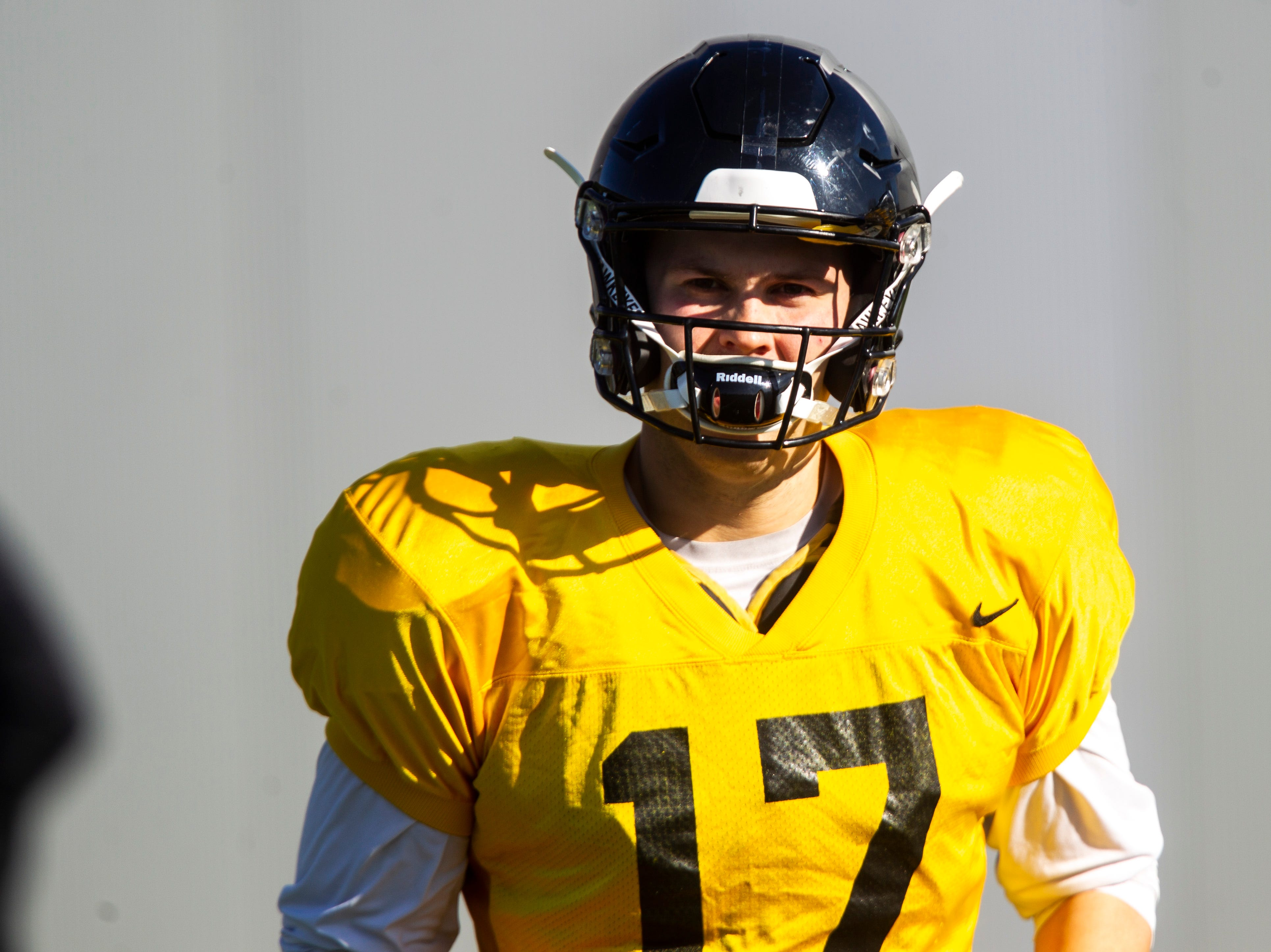 Iowa quarterback Ryan Schmidt (17) is pictured during the final spring football practice, Friday, April 26, 2019, at the University of Iowa outdoor practice facility in Iowa City, Iowa.