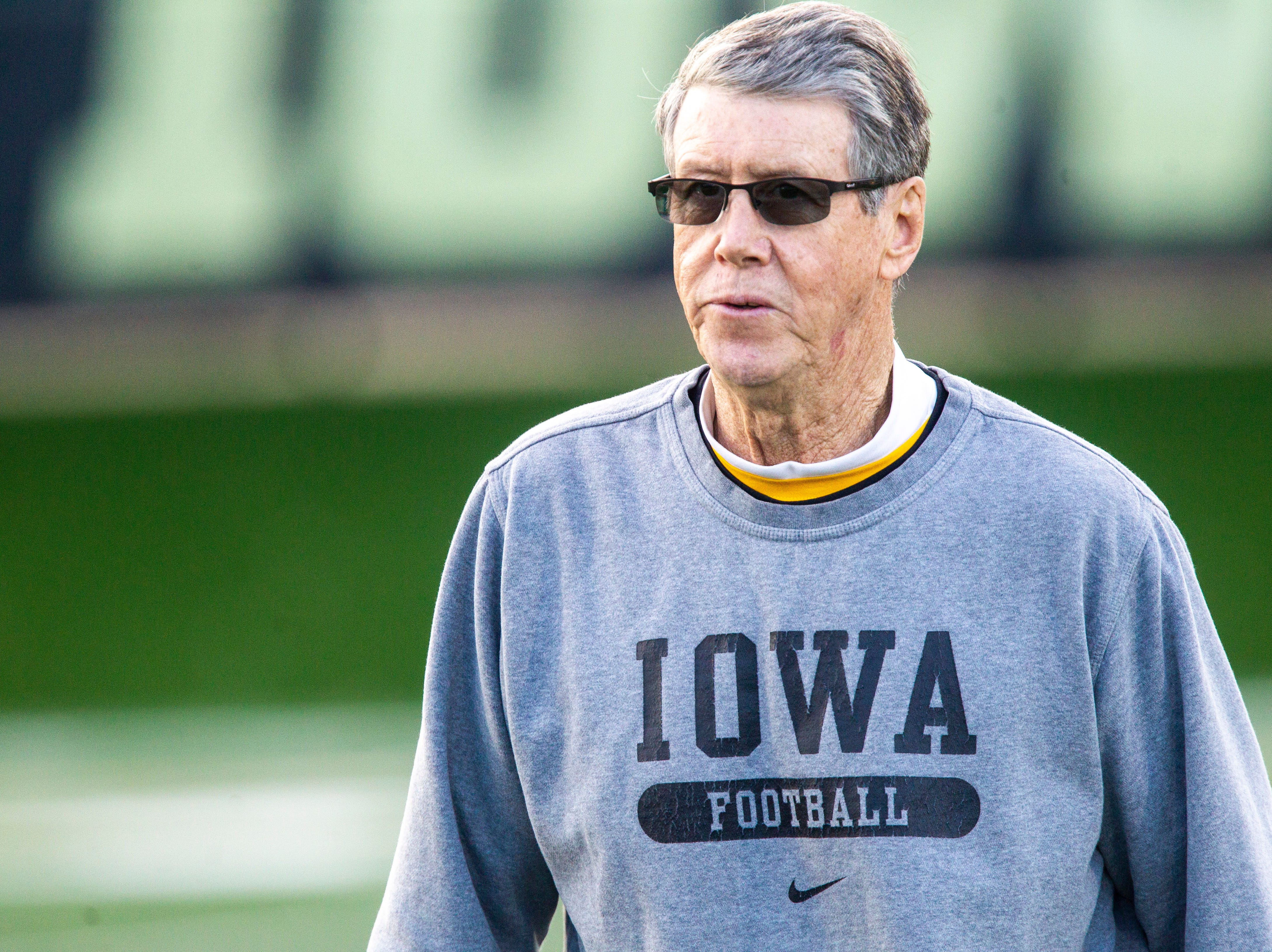 Iowa quarterbacks coach Ken O'Keefe is pictured during the final spring football practice, Friday, April 26, 2019, at the University of Iowa outdoor practice facility in Iowa City, Iowa.