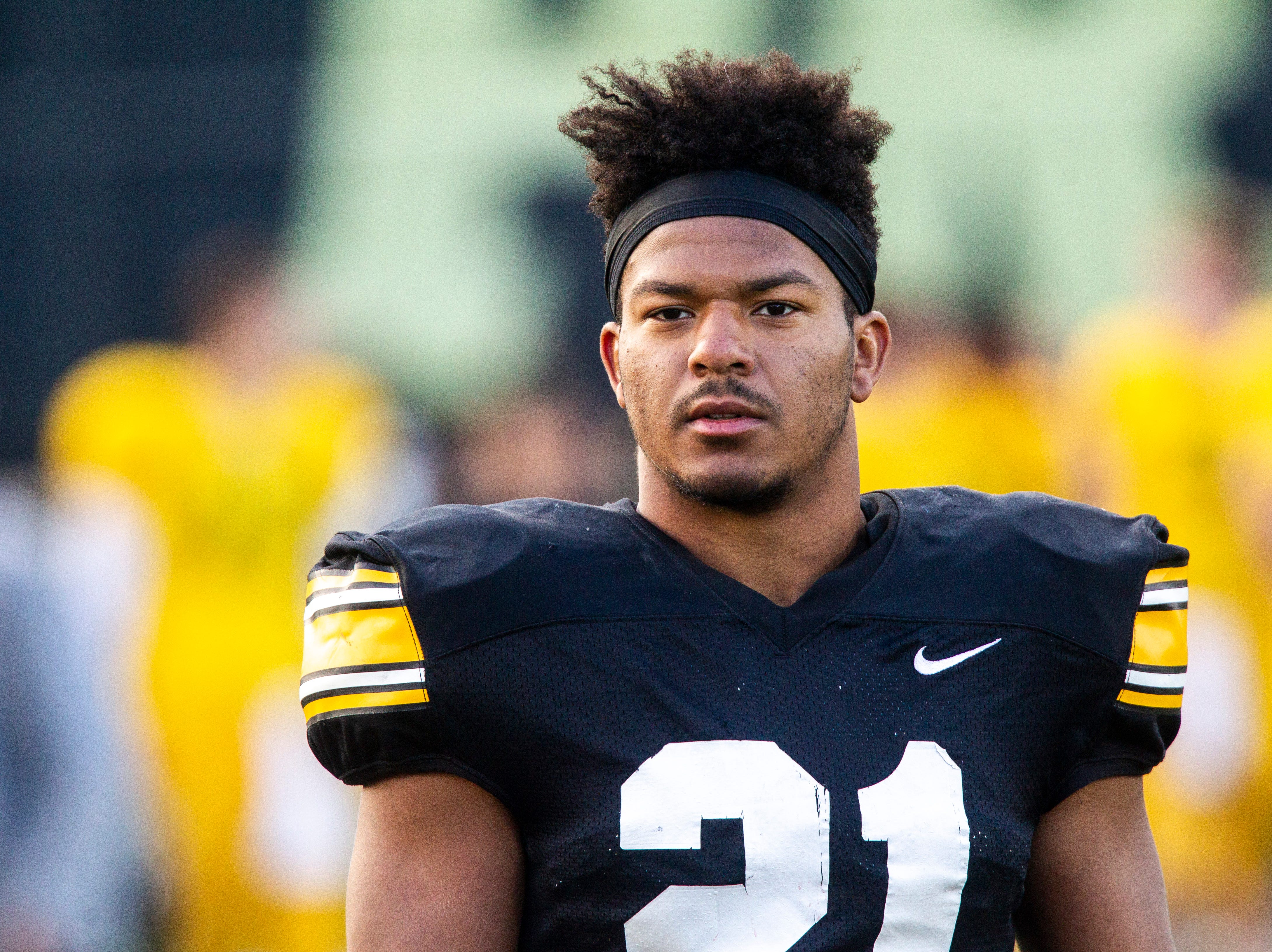 Iowa running back Ivory Kelly-Martin (21) is pictured during the final spring football practice, Friday, April 26, 2019, at the University of Iowa outdoor practice facility in Iowa City, Iowa.