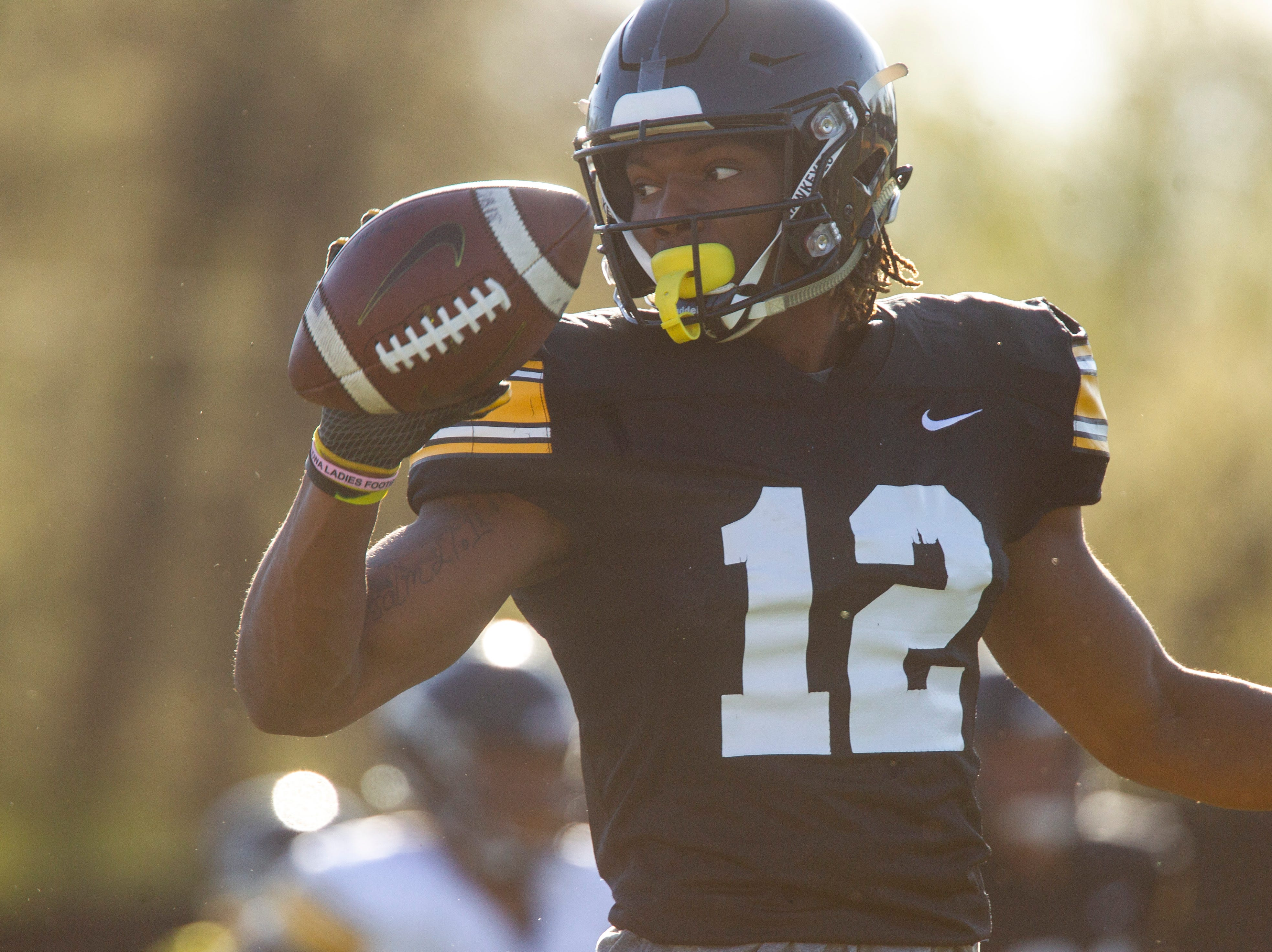 Iowa wide receiver Brandon Smith (12) is pictured during the final spring football practice, Friday, April 26, 2019, at the University of Iowa outdoor practice facility in Iowa City, Iowa.