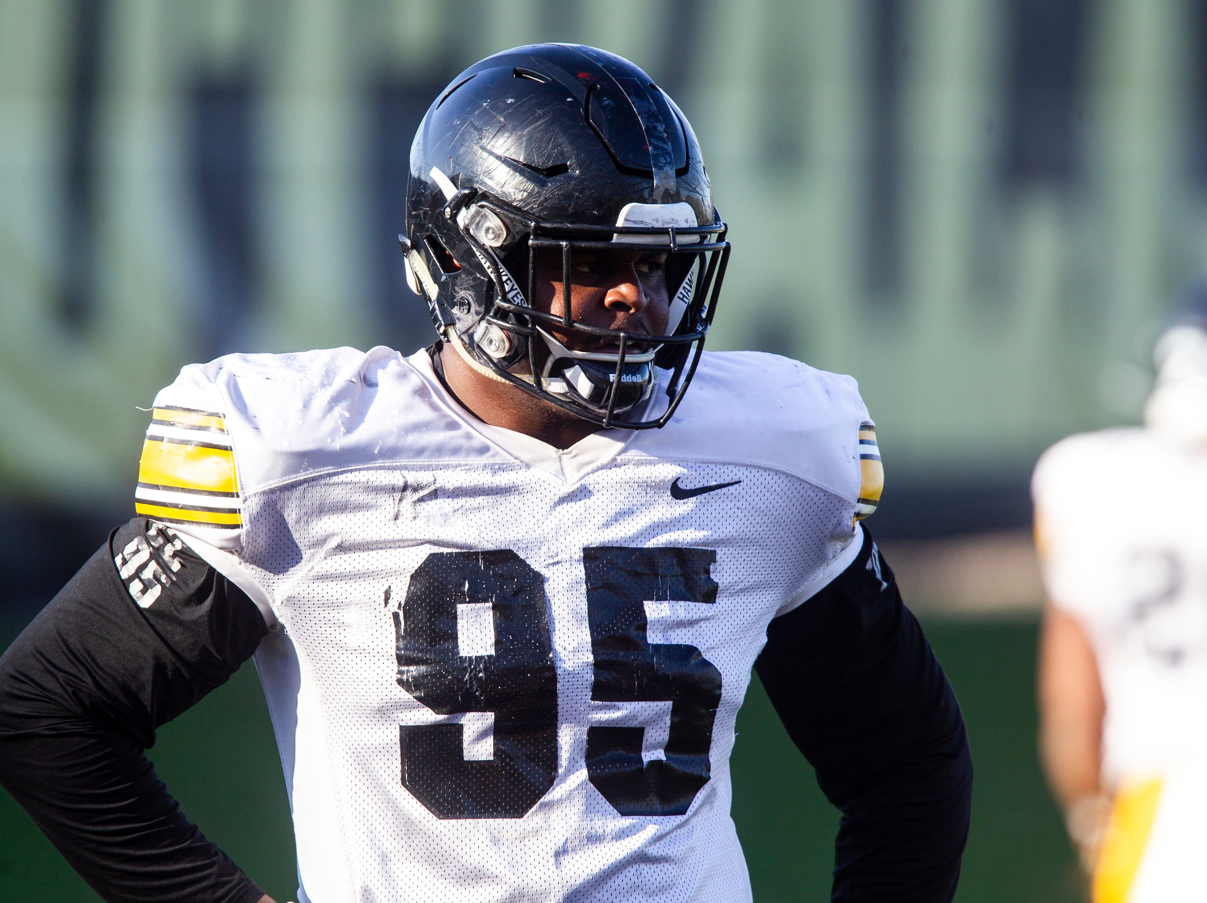 Iowa defensive lineman Cedrick Lattimore (95) is pictured during the final spring football practice, Friday, April 26, 2019, at the University of Iowa outdoor practice facility in Iowa City, Iowa.