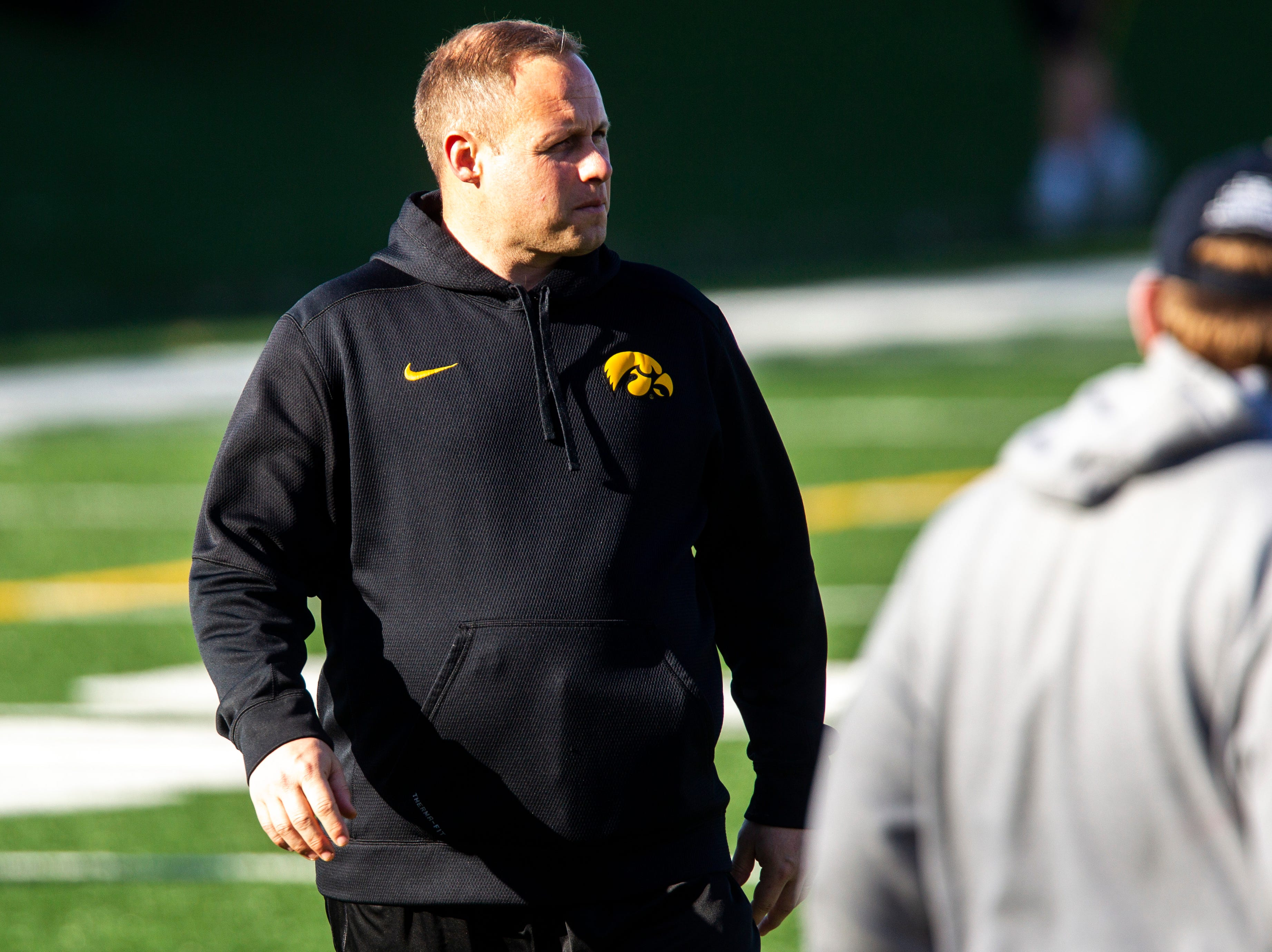 Iowa linebackers coach Seth Wallace is pictured during the final spring football practice, Friday, April 26, 2019, at the University of Iowa outdoor practice facility in Iowa City, Iowa.