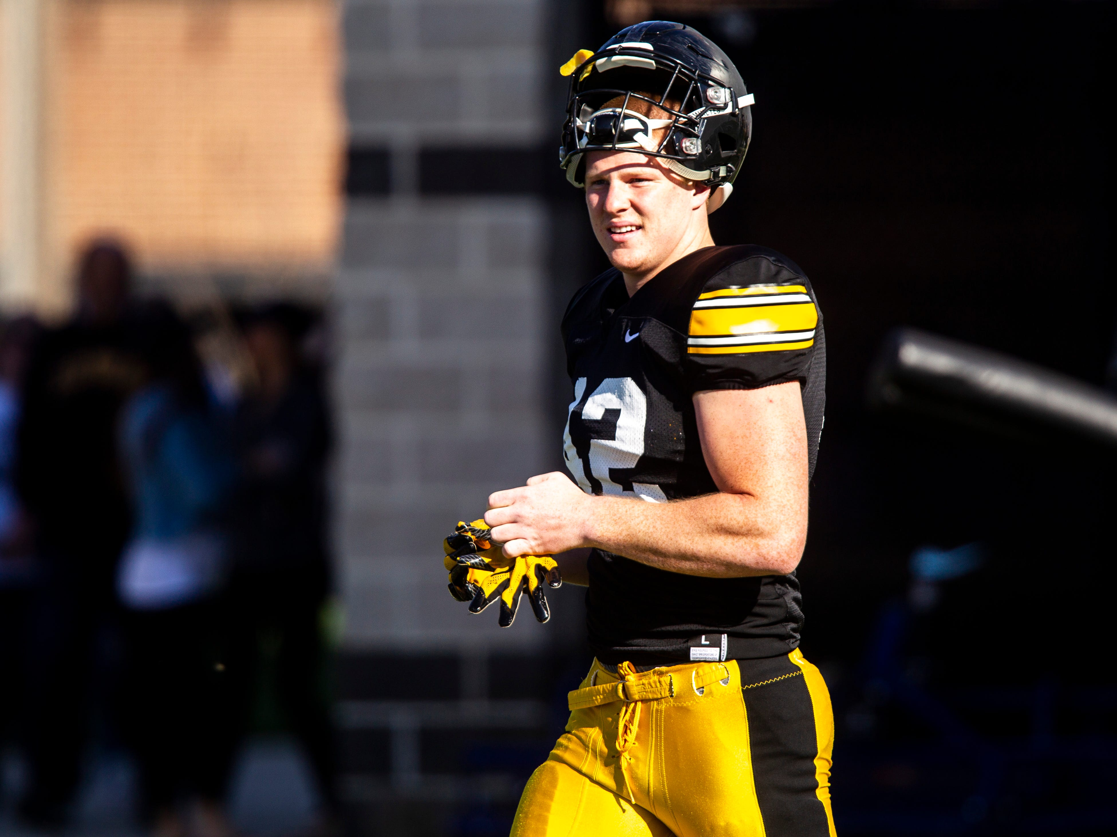 Iowa tight end Shaun Beyer (42) is pictured during the final spring football practice, Friday, April 26, 2019, at the University of Iowa outdoor practice facility in Iowa City, Iowa.