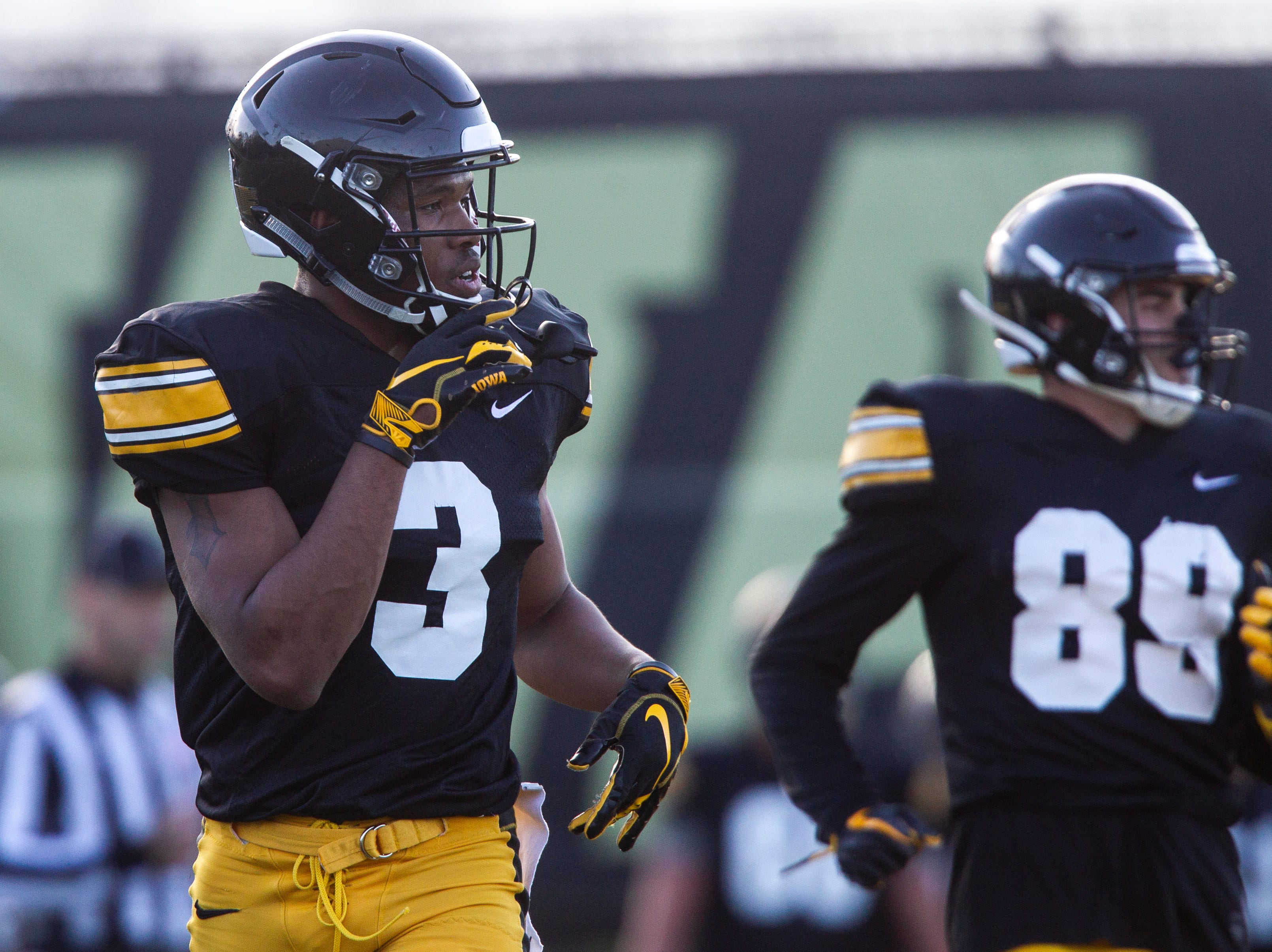 Iowa wide receiver Tyrone Tracy, Jr. (3) is pictured during the final spring football practice, Friday, April 26, 2019, at the University of Iowa outdoor practice facility in Iowa City, Iowa.
