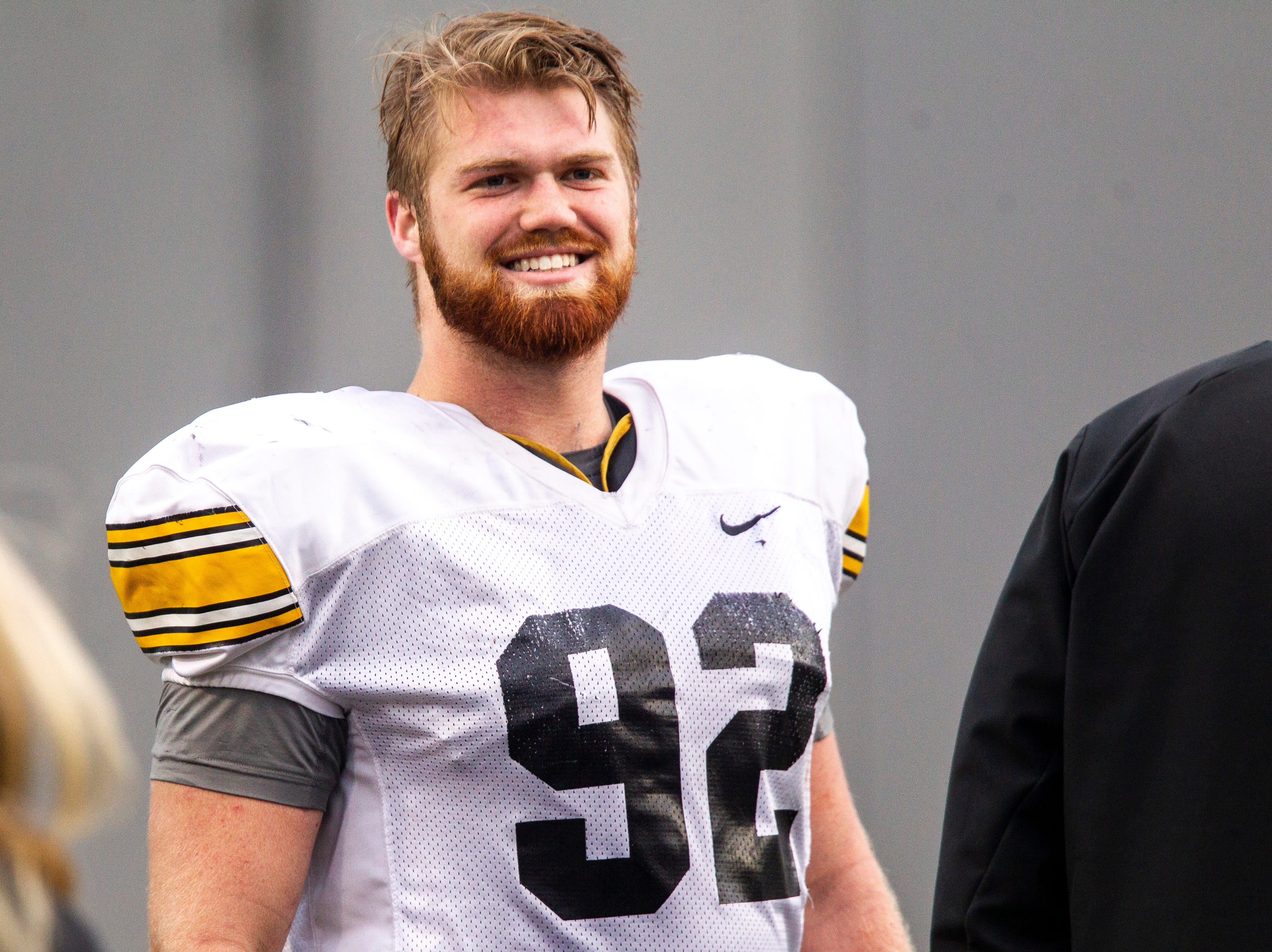 Iowa defensive lineman John Waggoner (92) is pictured during the final spring football practice, Friday, April 26, 2019, at the University of Iowa outdoor practice facility in Iowa City, Iowa.