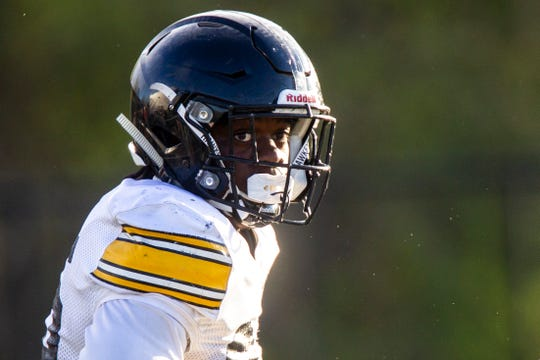 Iowa linebacker Jayden McDonald, pictured at a spring practice April 26, has announced he will transfer.