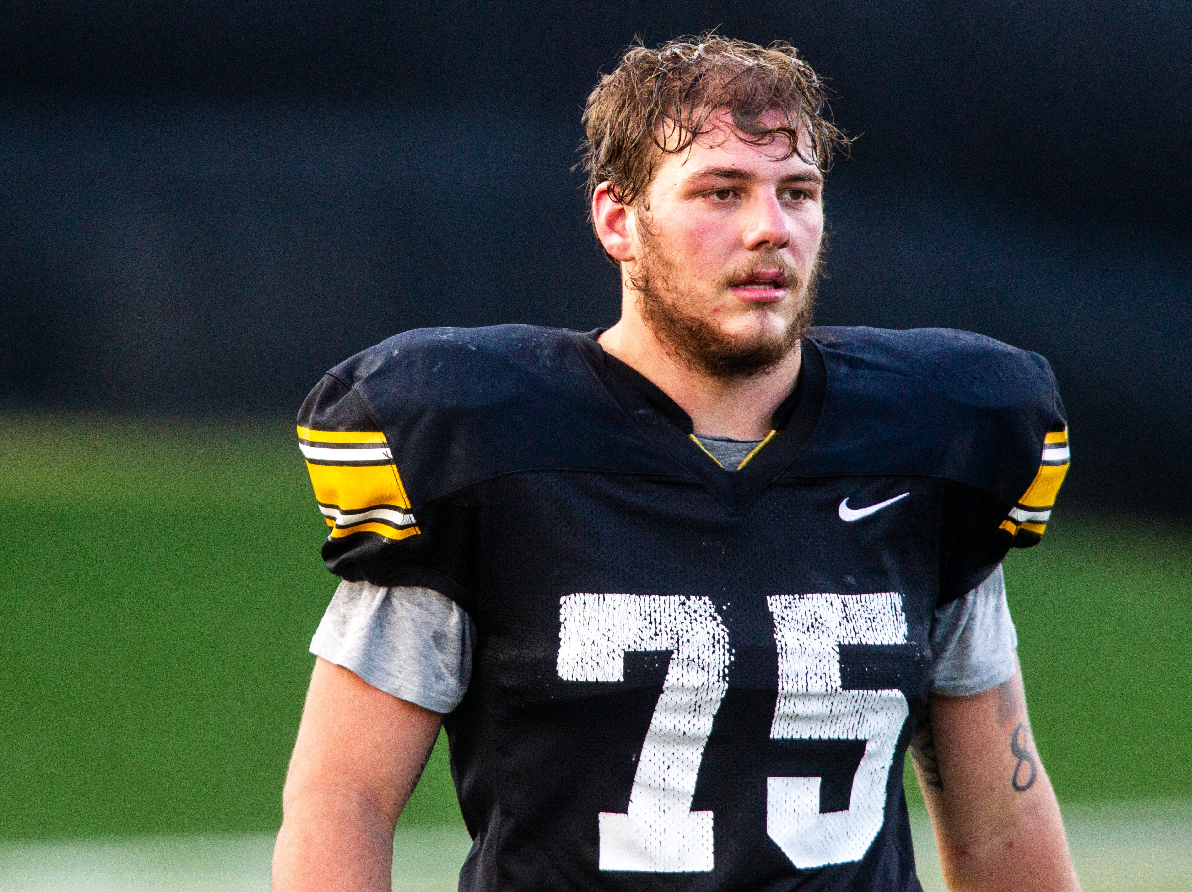 Iowa offensive lineman Jeff Jenkins (75) is pictured during the final spring football practice, Friday, April 26, 2019, at the University of Iowa outdoor practice facility in Iowa City, Iowa.