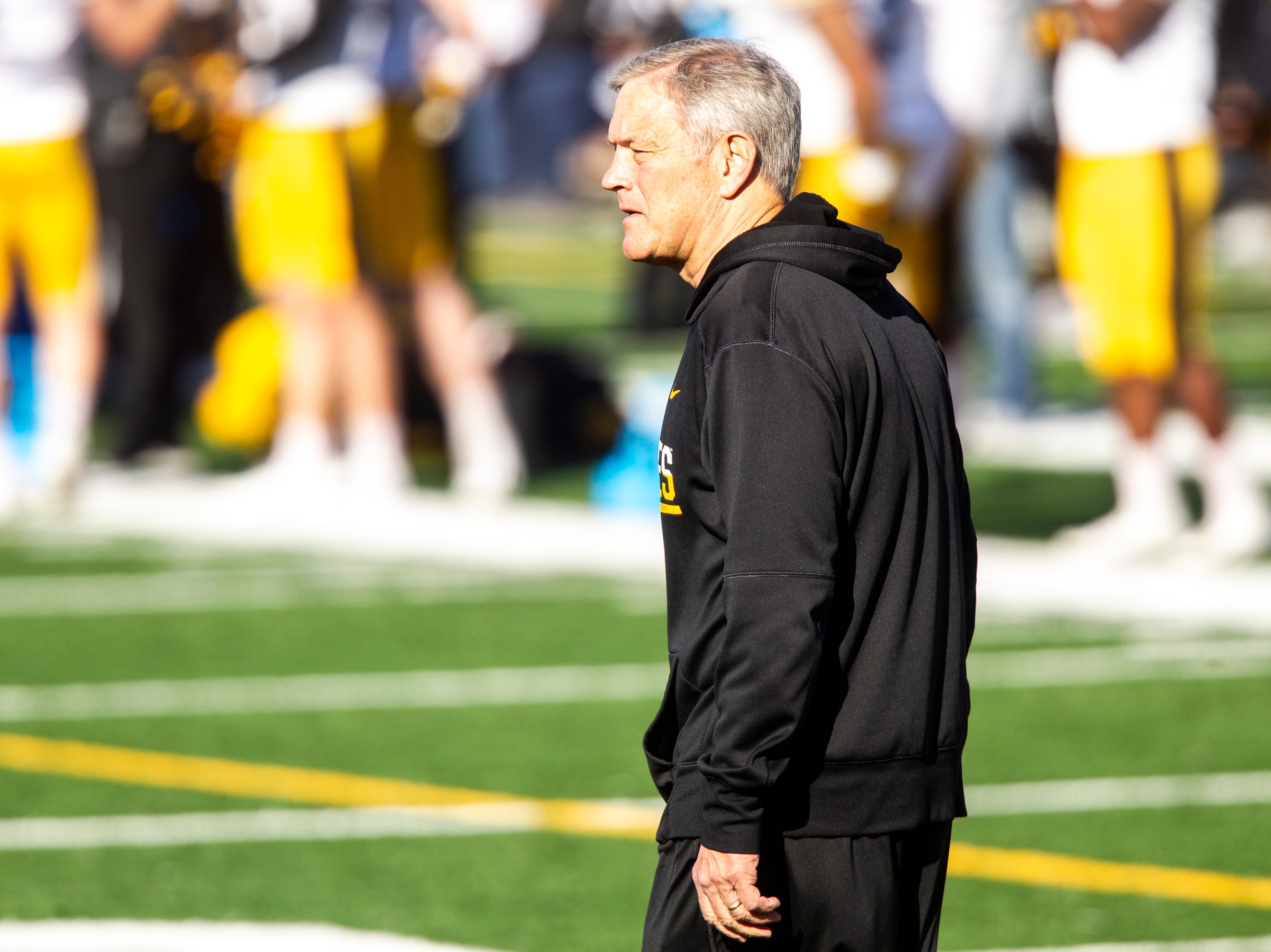 Iowa head coach Kirk Ferentz is pictured during the final spring football practice, Friday, April 26, 2019, at the University of Iowa outdoor practice facility in Iowa City, Iowa.