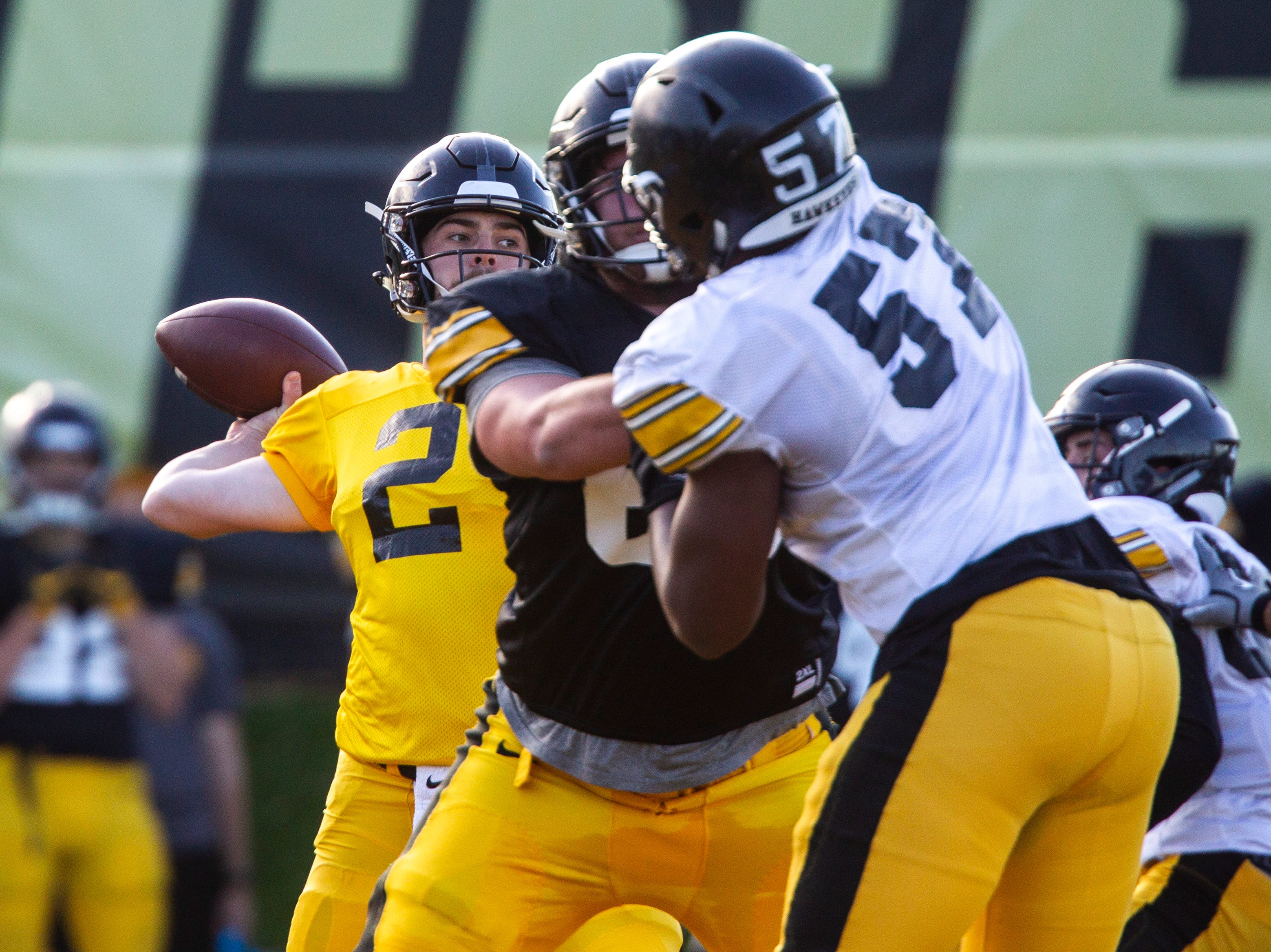 Iowa quarterback Peyton Mansell (2) passes during the final spring football practice, Friday, April 26, 2019, at the University of Iowa outdoor practice facility in Iowa City, Iowa.