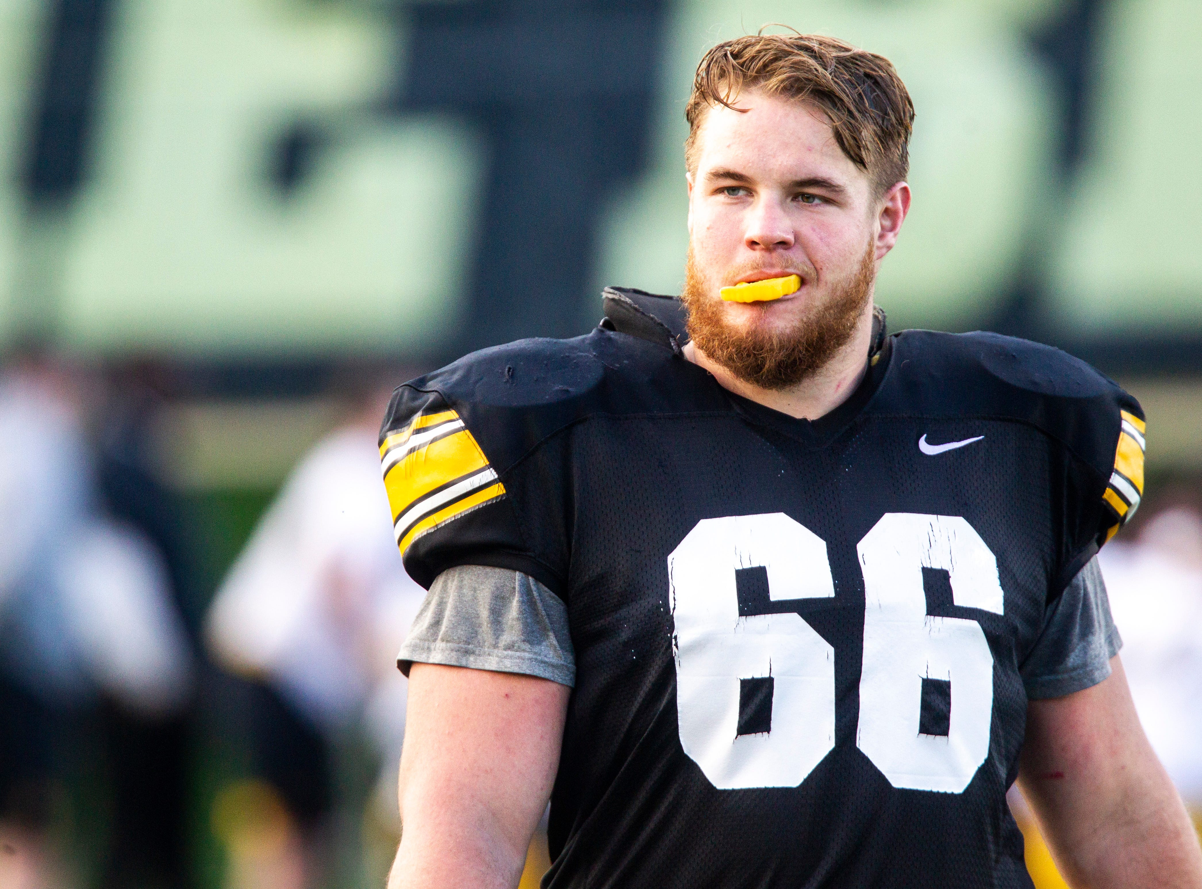 Iowa offensive lineman Levi Paulsen (66) is pictured during the final spring football practice, Friday, April 26, 2019, at the University of Iowa outdoor practice facility in Iowa City, Iowa.
