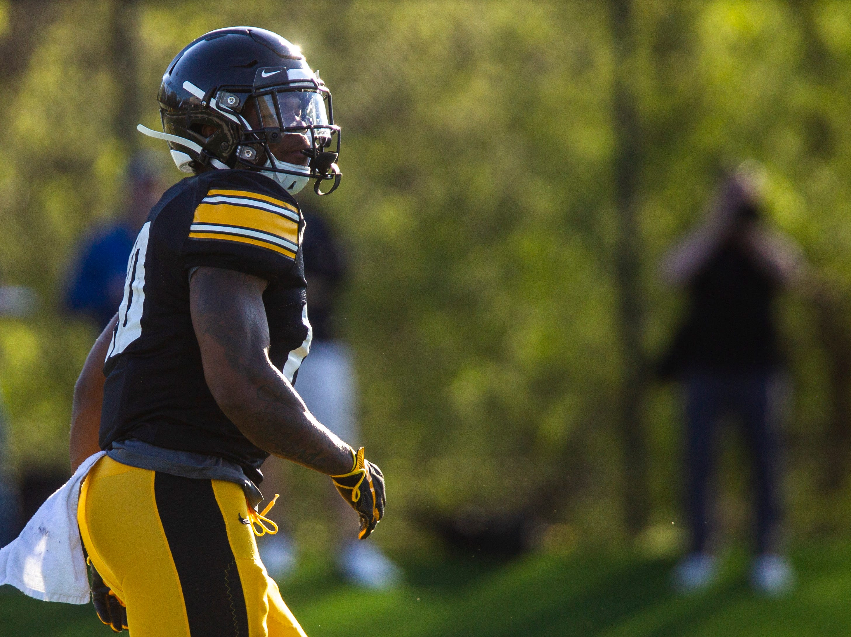 Iowa running back Mekhi Sargent looks up field during the final spring football practice, Friday, April 26, 2019, at the University of Iowa outdoor practice facility in Iowa City, Iowa.