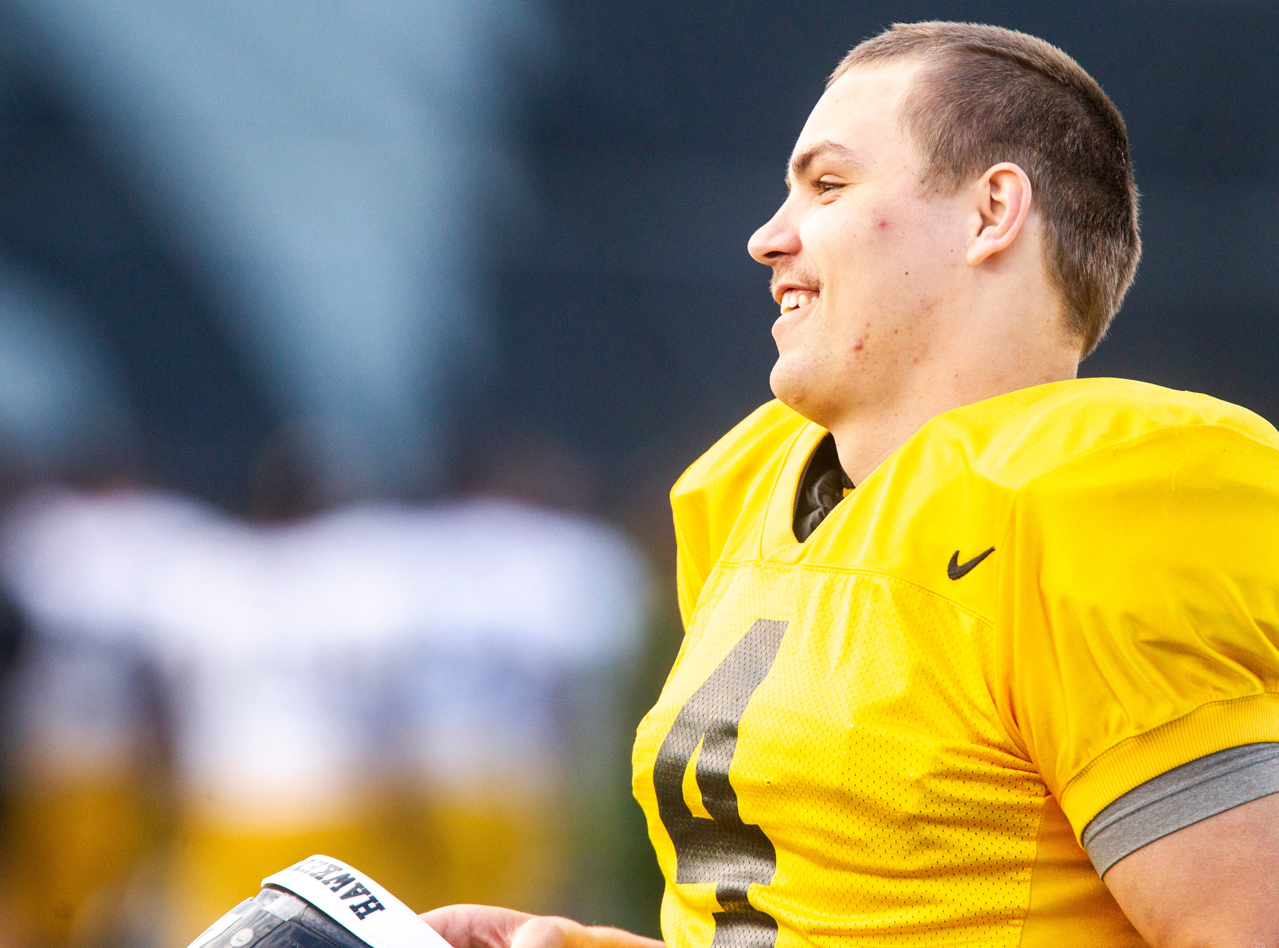 Iowa quarterback Nate Stanley smiles after the final spring football practice, Friday, April 26, 2019, at the University of Iowa outdoor practice facility in Iowa City, Iowa.
