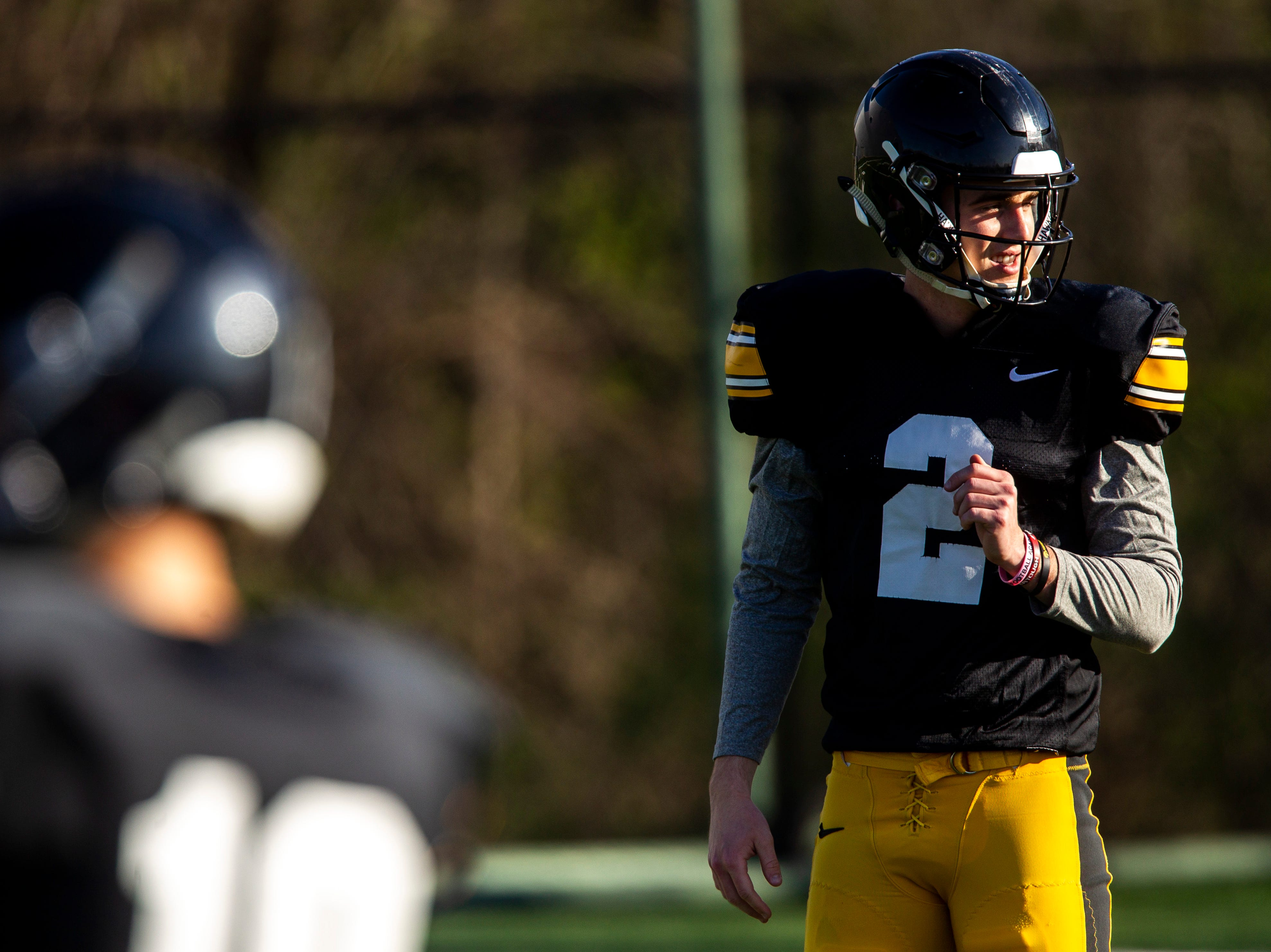 Iowa punter Ryan Gersonde is pictured during the final spring football practice, Friday, April 26, 2019, at the University of Iowa outdoor practice facility in Iowa City, Iowa.