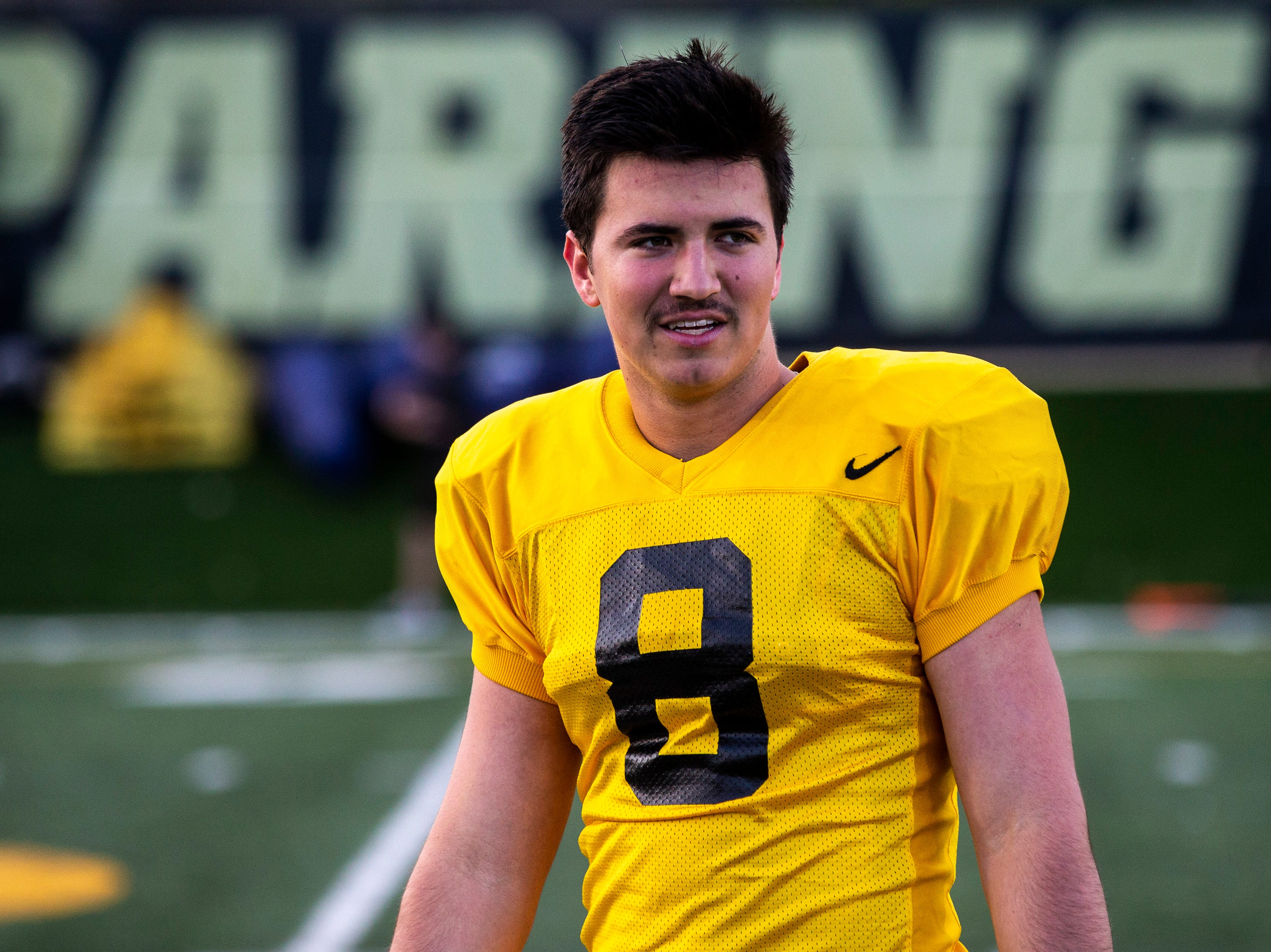 Iowa quarterback Alex Padilla (8) is pictured during the final spring football practice, Friday, April 26, 2019, at the University of Iowa outdoor practice facility in Iowa City, Iowa.