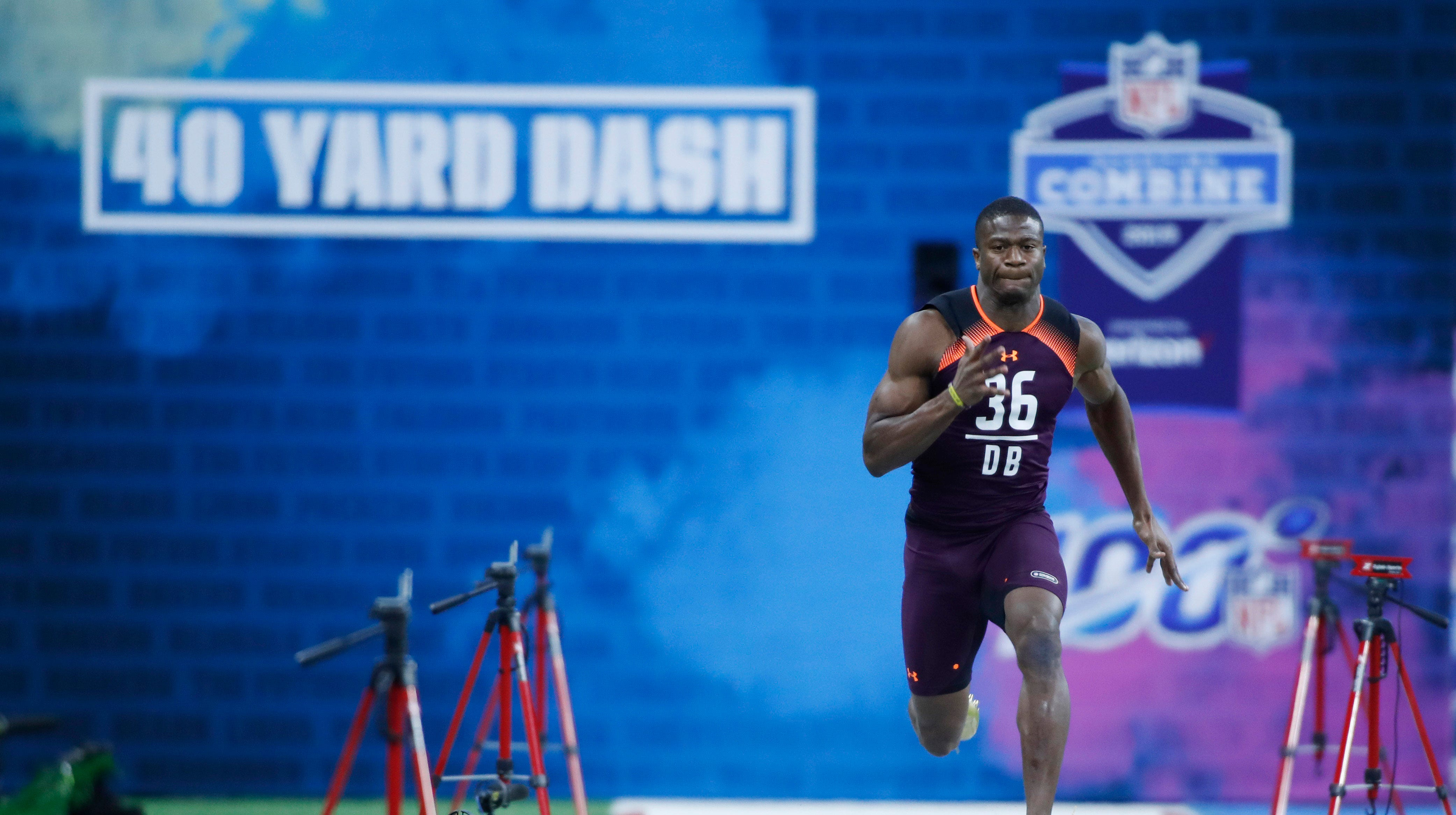 Mar 4, 2019; Indianapolis, IN, USA; Temple defensive back Rock Ya-Sin (DB36) runs the 40 yard dash during the 2019 NFL Combine at Lucas Oil Stadium. Mandatory Credit: Brian Spurlock-USA TODAY Sports