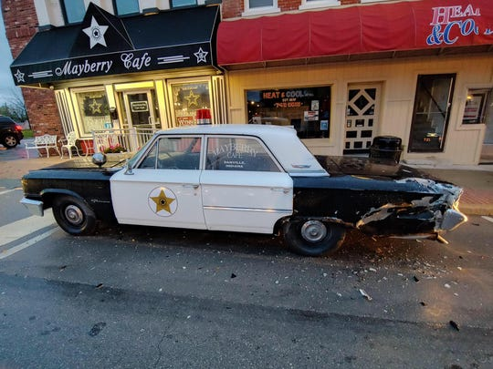 "Danville's iconic ""Mayberry Car"" was damaged by a hit-and-run driver on Friday."