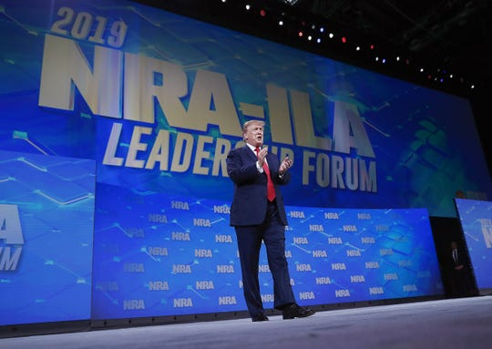 President Donald Trump speaks supporters at the NRA-ILA Leadership Forum at Lucas Oil Stadium on Friday, April 26, 2019.
