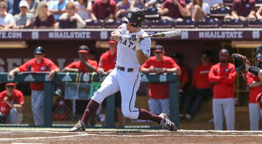 Mississippi State's Jake Mangum (15) gets hit number 352 in the first inning to tie Eddy Furniss' record for most all-time hits by an Southeastern Conference player. Mississippi State played Georgia in an SEC baseball game on Saturday, April 27, 2019 at Dudy Noble Field. Photo by Keith Warren