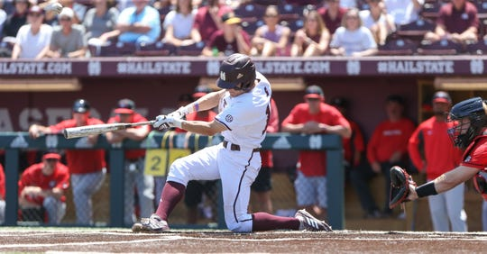 Mississippi State's Jake Mangum (15) gets hit number 353 in the second inning to break Eddy Furniss' record for most all-time hits by an Southeastern Conference player. Mississippi State played Georgia in an SEC baseball game on Saturday, April 27, 2019 at Dudy Noble Field. Photo by Keith Warren