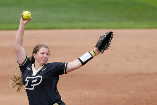 Purdue pitcher Sydney Bates (23) throws during the fifth inning of a NCAA softball game, Saturday, April 27, 2019 at Bittinger Stadium in West Lafayette. Wisconsin won, 12-6.