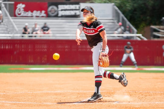 UL's Summer Ellyson throws a pitch to the batter as the Ragin' Cajuns take on the Coastal Carolina Chanticleers at Yvette Girouard Field on Saturday, April 27, 2019.