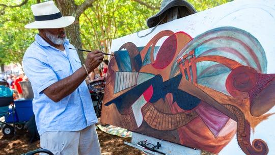 Artist Sidney Carter at Festival International de Louisiane. Saturday, April 27, 2019.