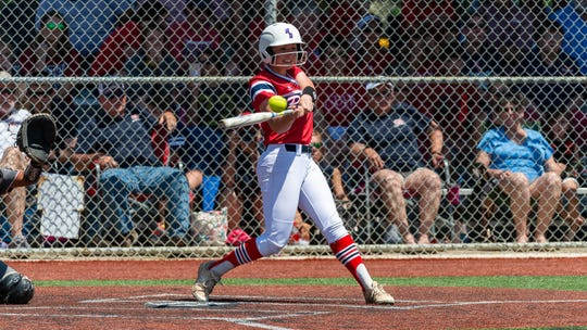 Notre Dame's Haley Maloz gets a hit at the plate as the Lady Pios take on Riverside in the LHSAA State Tournament semifinals Friday, April 26, 2019.