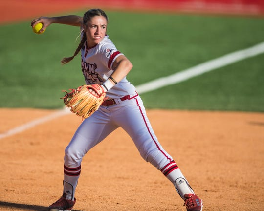 UL third baseman Kara Gremillion makes the throw for the out as the Ragin' Cajuns play Coastal Carolina in the first of a three-game series at Lamson Park on Friday, April 26, 2019.