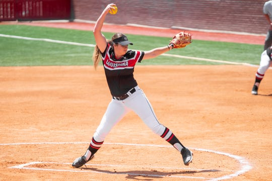 UL's pitcher Summer Ellyson throws from the circle as the Ragin' Cajuns take on the Coastal Carolina Chanticleers at Yvette Girouard Field on Saturday, April 27, 2019.