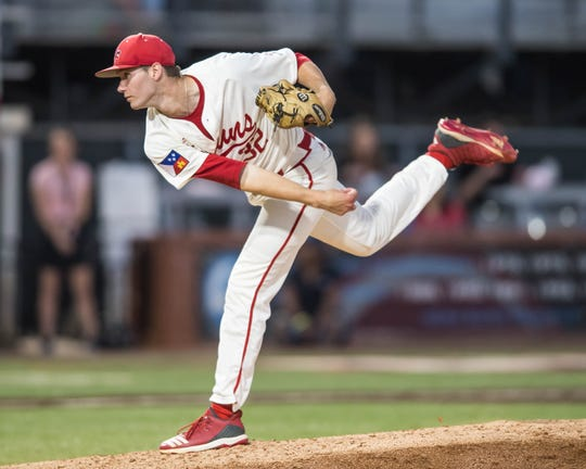 "UL pitcher Brandon Young pitches in relief as the Ragin' Cajuns play Texas State at M.L. ""Tigue"" Moore Field on Friday, April 26, 2019."