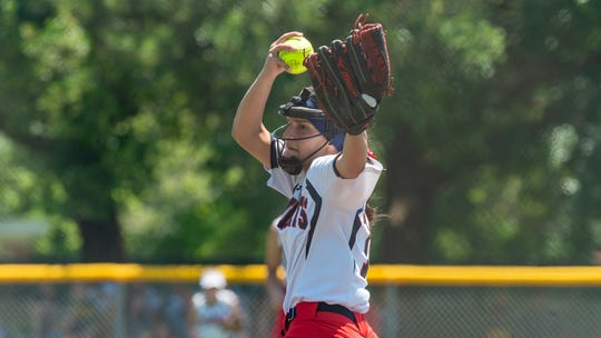 Lafayette Christian's Janci Aubé in the circle as the LCA Knights take on Catholic-Pointe Coupee in the LHSAA State Tournament semifinals Friday, April 26, 2019.