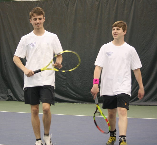 Doubles partners Brent Webster (left) and Nick Reynolds were all smiles as they helped Lexington beat Wooster 5-0 on Friday to cap a perfect Ohio Cardinal Conference dual season.