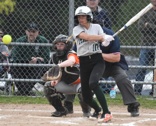 Madison's Leah Boggs rips a single in a win over Mansfield Senior last week.