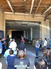 Marvin Stockwell with the Coliseum Coalition, prefaces a tour of the closed venue with an updates on restoration efforts at the Mid-South Coliseum on Saturday, April 27, 2019.
