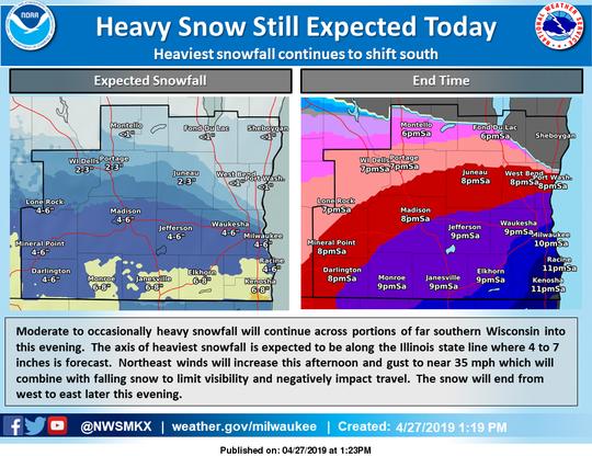 Snowfall predictions as of 1:20 p.m.