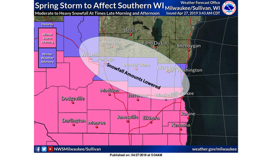 Snow is still expected across southern Wisconsin on Saturday, but expected snowfall amounts have been lowered, the National Weather Service says.