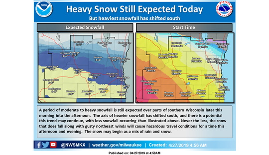 The National Weather Service says snow is still going to fall across southern Wisconsin on Saturday, but the area of heaviest snow has shifted south.