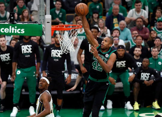 The Celtics' Al Horford dunks against the Pacers in a first-round game.