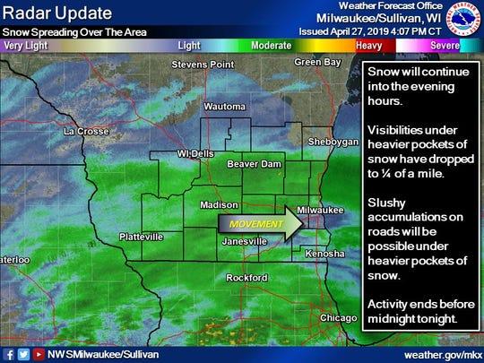 The radar in southern Wisconsin around 4 p.m. Saturday.