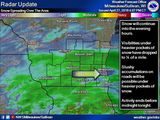 The radar in southern Wisconsin around 4 p.m. Saturday.