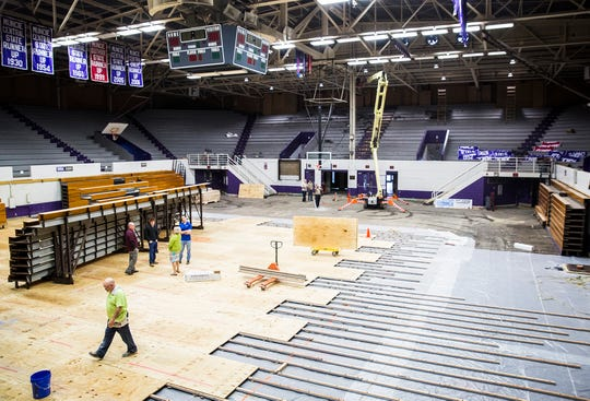 FILE -- Contractors have been at work repairing Muncie Fieldhouse so it will be ready by this fall. Muncie Central would like for it to also host girls and boys basketball sectionals this year.