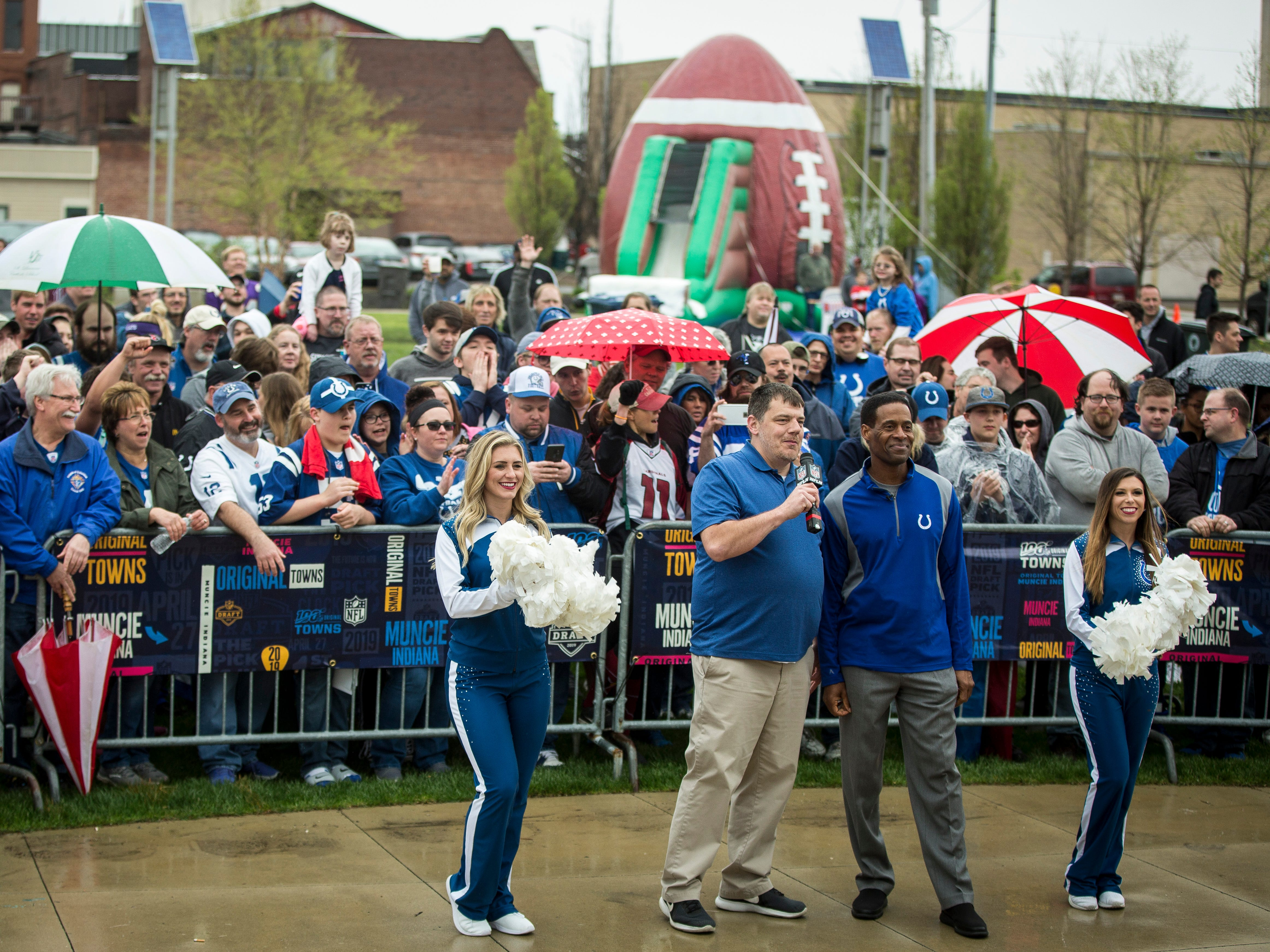 Former Colts player Bill Brooks makes the NFL draft pick for the Colts live from Muncie on April 27 at Canan Commons.