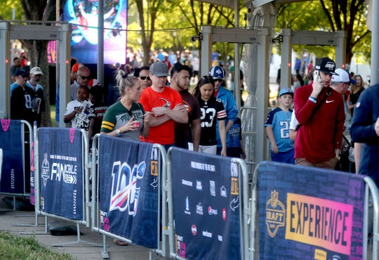 People leave the NFL Draft Experience, at Nissan Stadium on Friday, April 26, 2019, in Nashville, Tennessee.