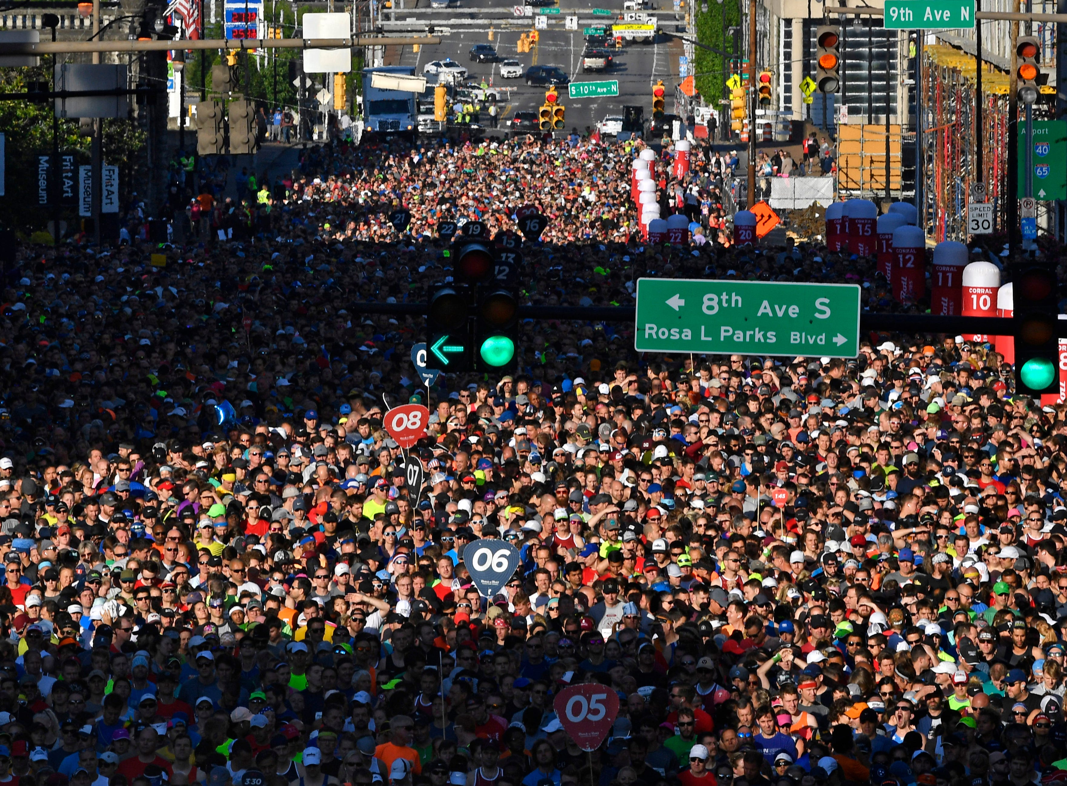 Runners crowd Broadway from 8th to 12th before the St. Jude Rock and Roll Marathon Saturday, April 27, 2019, in Nashville, Tenn.