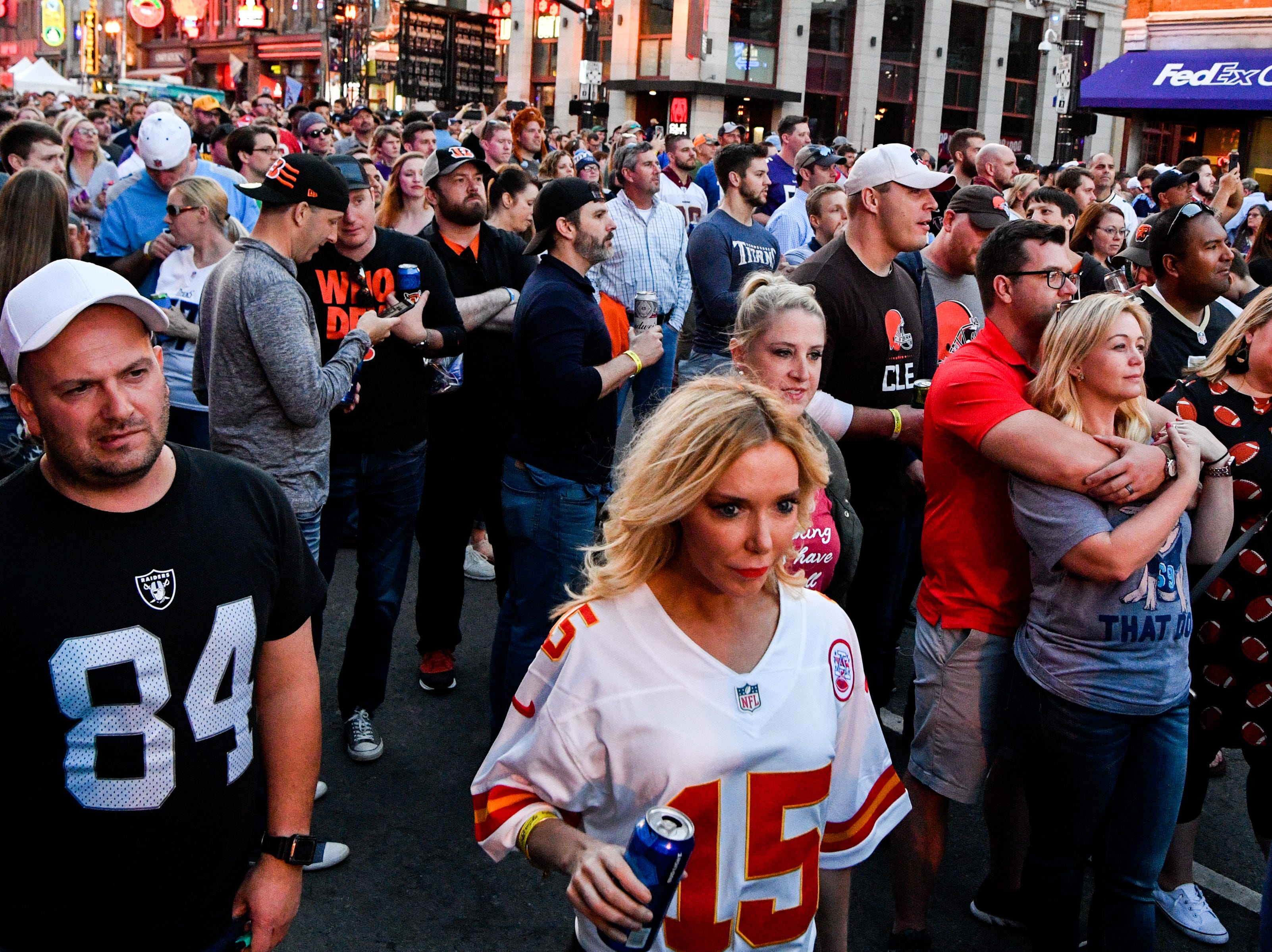 Fans gather on Lower Broadway during the NFL Draft Experience Friday, April 26, 2019, in Nashville, Tenn.