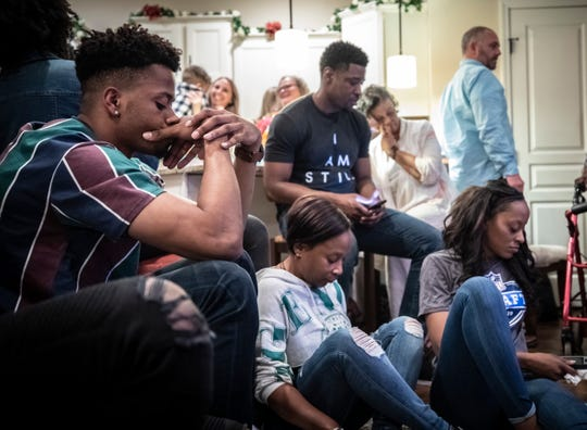 Emanuel Hall watches as the second day of the NFL Draft winds down Friday, April 26, 2019.